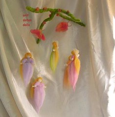 Mobile of 5 wool fairies 2 butterflies by orit dotan dolls  ,         (orit dotan) Tags: sculpture wool toys soft handmade fairies   naturalkids  waldorfdolls     oritdotandolls    waldorfeducation  privatelessonstheraphy