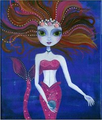 Mermaid of the deep (witchetty) Tags: pink art girl fairytale painting acrylic mermaid fantasty bigeyedgirl