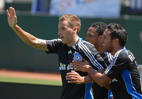 Darren Huckerby after scoring against the Los Angeles Galaxy - August 3, 2008 - McAfee Stadium, Oakland, CA.  Quakes win 3-2.  Photo by Joe Nuxoll / centerlinesoccer.com / isiphoto.com