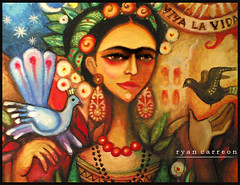 Frida Kahlo (Estaba El Senhor InigoDeloyola) Tags: art colors la artist drawing pastel frida mexican vida oil tribute te symbols amo kahlo colourartaward
