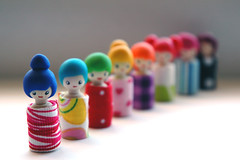 Rainbow dolls (::smyii::) Tags: cute diy wooden doll dolls handmade craft fimo fabric cotton clay kawaii kokeshi polymer