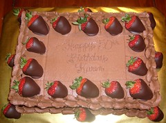 Karen's 50th Birthday Chocolate Covered Strawberry Cake