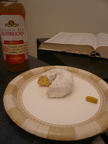 Bell, Book and Candle = Kombucha, Dictionary, and Donut (and vitamin)