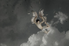 Don't Fly Too Close To The Sun (The Fall Of Icarus) (JaredPallesen) Tags: blue boy jared portrait sky cloud selfportrait bird fall me birds clouds photomanipulation photoshop self greek fly flying wings wing falling teen portraiture teenager wax desaturated icarus mythology teenage teenaged jaredpallesen