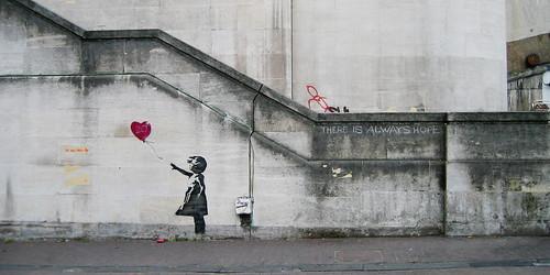 Banksy Girl Balloon -- london girl balloon banksy graffiti 2008 southbank heartballoon heart art