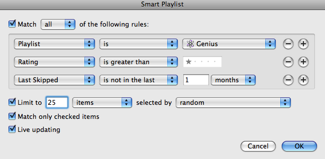 iTunes 8 - Genius Smart Playlist
