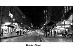 Night Street Scene #5 - Bourke Street, Melbourne (gahenty) Tags: street city blackandwhite bw white black night availablelight streetphotography australia melbourne olympus victoria cbd nightscene bourkestreet bourke e330 gahenty