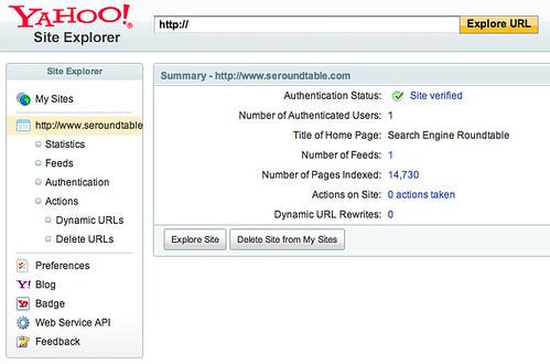 Yahoo Site Explorer Design Live
