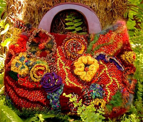orange floral freeform purse