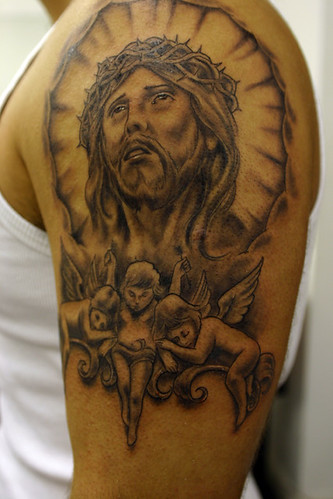 jesus-and-cherubs-tattoo. Tattooed by Ray at The Tattoo Studio, Crayford