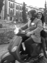 Remember Audrey (Landahlauts) Tags: street blackandwhite blancoynegro film movie calle andaluca europa europe vespa audreyhepburn streetsho