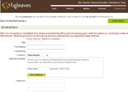 Figleaves checkout
