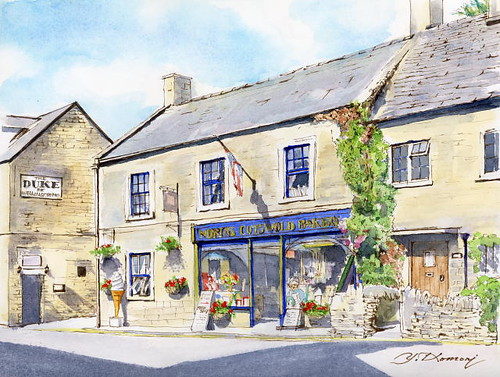 Quiet morning (Bourton on-the-water COTSWOLDS U.K.)  早朝のホテル前のベーカリー  by Yuzo Komori