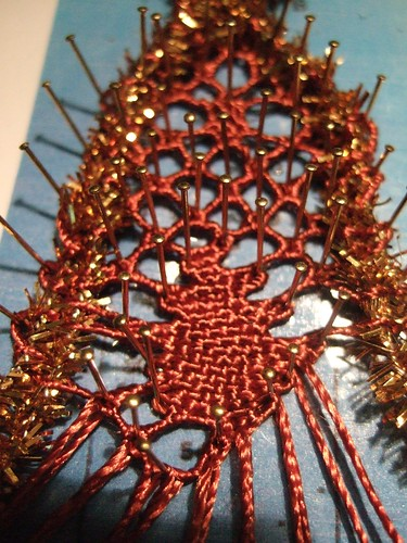 bobbin lace with tinsel pipecleaners!