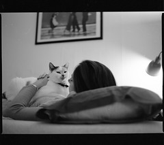 Haley and Chloe (absencesix) Tags: family november people usa pets film nature animals mediumformat illinois 645 girlfriend unitedstates chloe domestic northamerica evanston 2008 locations unknowncamera 0mm zenzabronica iso0 geo:state=illinois unknownlens mediumformat6x45 geo:city=evanston haleymontgomery kodakbw400cnprofessional hasmetastyletag hascameratype selfrating0stars unknownflash november32008 hasfilmtype unknownexposure haleymontgomerysapartment geo:countrys=usa subjectdistanceunknown unknownmode evanstonillinoisusa