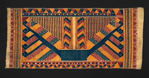//Tatibin//. Paminggir people, Sumatra 19th century, 93 x 41 cm. Ship motif. From the library of Darwin Sjamsudin, Jakarta. Photograph by D Dunlop.