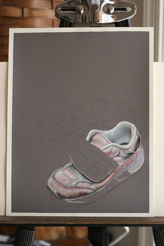 Photo of in progress drawing entitled Pink Sneakers