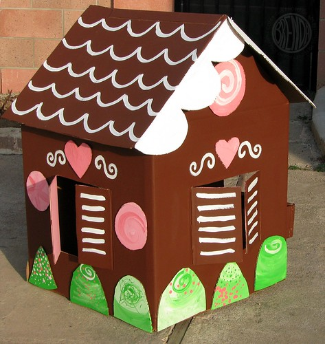 painted life size gingerbread house