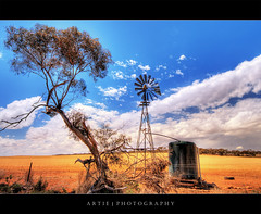 Truly Australia :: HDR (Artie | Photography :: I'm a lazy boy :)) Tags: trees red sky nature windmill clouds photoshop canon tank cs2 cloudy earth country australia wideangle drought handheld adelaide outback 1020mm southaustralia hdr artie outskirt 3xp sigmalens photomatix tonemapping tonemap water 400d tank rebelxti australiaoutback