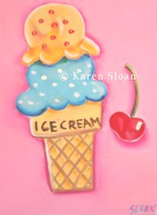 Berry Cherry Cone - 6x8 acrylic Karen Sloan (Karen @ Wall Flower Studio) Tags: pink blue food fruit cherry cone kitsch icecream whimsical childrensillustration