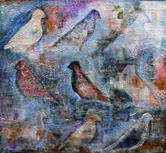 march of the pigeons (Peg Grady) Tags: art birds collage painting paper stencil acrylic mixedmedia canvas textured