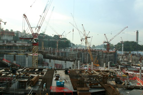 Singapore has many buildings under construction and work on all sides