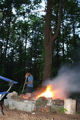 first fire of the season (Blanche and Guy) Tags: orange guy pine forest fire spring woods smoke flames warmth peaceful pit burning blanche lifeisgood enjoying mosquitos spontaneous koomzeetz naturalrepellant