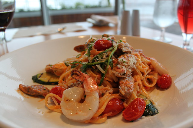 Linguini with grilled prawns and chorizo sausage