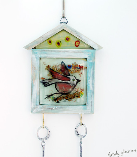 Fused glass wall Key Hanger panel - hanging wall art. by virtuly art in glass