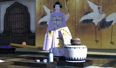 Umechie Closes the Ceremony (BlueLotusOkiya) Tags: crane maiko sake secondlife geisha tatami kimono obi shamisen koto ochaya kanzashi minarai oshiroi ozashiki umeha usucha bluelotusokiya umechie
