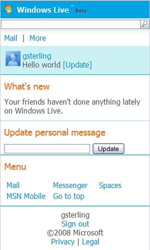New Windows Live Mobile Home