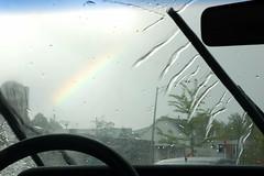 Rainbow! (ryan digital) Tags: rain rainbow steeringwheel windshieldwipers