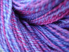 Tulips and Hydrangeas finished yarn closeup