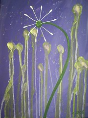 "Dandelion Dream 4 ""Evening"" (Barefoot-Gypsy) Tags: painting whimsy purple dandelion acrylics"