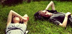 panorama. (c.magpie) Tags: boy sleeping people panorama green girl grass yellow grey hands triangle nap arms sleep gray cropped asleep lyingdown rummagesale
