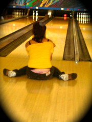 strike & my undies (* b e r e *) Tags: friends drunk fun underwear skills brunswick thong bowling strike exposed bowlingshoes