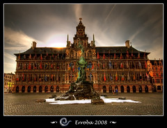 Stadhuis & Brabo, Antwerpen - City Hall and statue of Brabo, Antwerp, Belgium (Erroba) Tags: longexposure sunset water fountain statue photoshop canon rebel belgium cityhall tripod sigma flags filter tips nd remote antwerp 1020mm polarizer erlend brabo antwerpen stadhuis grotemarkt cs3 themoulinrouge goldenglobe photomatix tonemapped tonemapping 1xp xti 400d nd106 theunforgettablepictures erroba multimegashot robaye erlendrobaye
