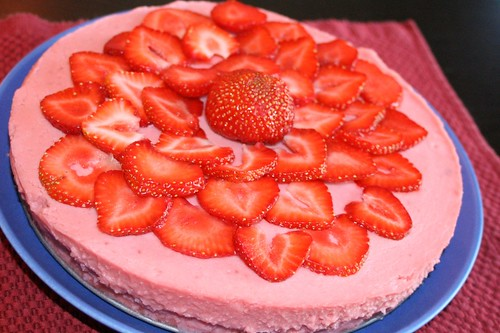 Vegan chocolate cake with strawberries and strawberry mousse