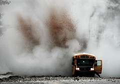 Steam pipe explosion - Exactly this time last year (noamgalai) Tags: nyc ny newyork bus photography photo rocks smoke explosion picture photograph schoolbus allrightsreserved sitenews   photomania steampipe  noamg noamgalai   aplusphoto steampipeexplosion wwwnoamgalaicom