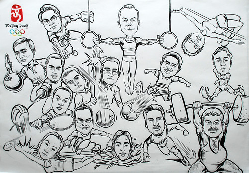 Group caricatures for Microsoft SEA Team ink and brush