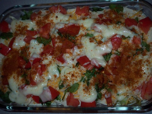 enchilada lasagna ready to bake
