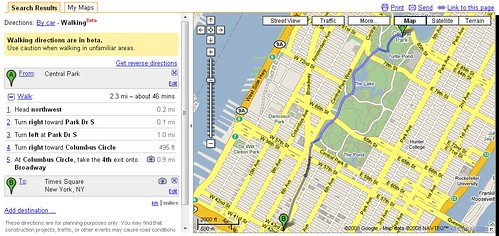 Routenplaner WalkingGoogle Maps
