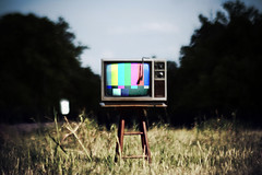 The Revolution will be Televized. (The Vision Beautiful) Tags: old field television set tv alone antique 123 testing revolution static stool televised rapture unplugged colorbars thisisonlyatest andnowbacktoyourregularlyscheduledapocalypse