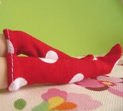 Red polka dots socks