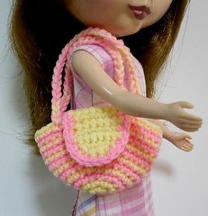 Blythe - Crocheted Shoulder Bag - Striped Pastel Pink and Yellow