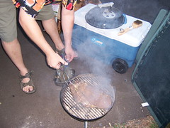 Grilling (Koocheekoo) Tags: camping oregon river rv airstream willametteriver willamette rvpark westfir internationalccd rvtrailer caseysrvcampground