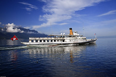 Paddle steamer Vevey on Lac Lman (Pavel Vanik) Tags: lake mountains nature clouds canon lago eos schweiz switzerland see boat ship suisse swiss lac svizzera bateau schiff vevey 30d vaud paddlesteamer laclman cgn genfersee waadt lakegeneve 1755is platinumphoto colorphotoaward estremit