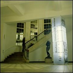 Entering the Bauhaus (Giorgio Verdiani) Tags: 6x6 architecture rolleiflex mediumformat germany weimar staircase scala bauhaus professors architects architettura professori faculty germania researchers ricercatori facolt vandevelde medioformato architetti