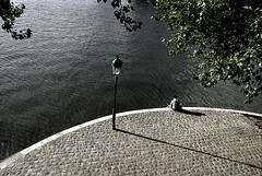 Alone at the Vert Galant (Mathieu [swallowed by offline life, will be back]) Tags: shadow bw man paris france color water lamp seine island solitude alone loneliness post bright suicide seul rverbre