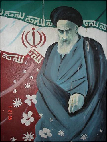A mural of the ayatollah Khomeni in Teheran, Iran